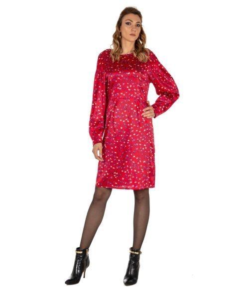 ABITO DONNA ATTIC AND BARN ROSSO SETA FANTASIA STEWART DRESS ATDR006 RED