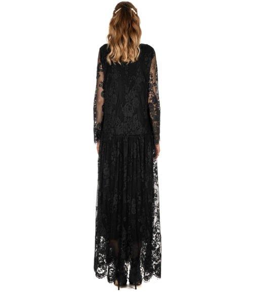 ABITO DONNA DVROMA NERO LUNGO PIZZO DRESS WOMAN BLACK MADE IN ITALY