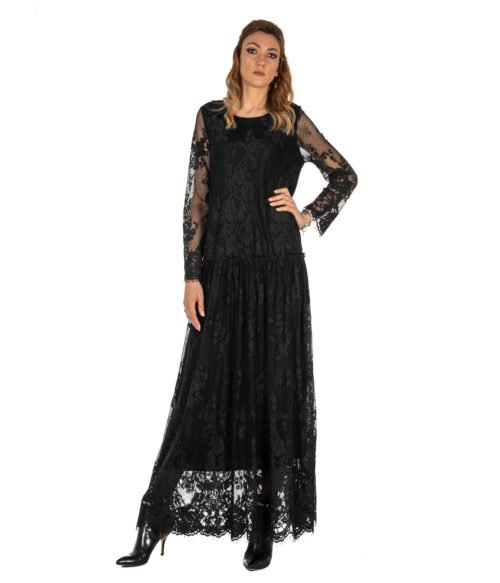 ABITO DONNA DVROMA NERO LUNGO PIZZO DRESS WOMAN MADE IN ITALY