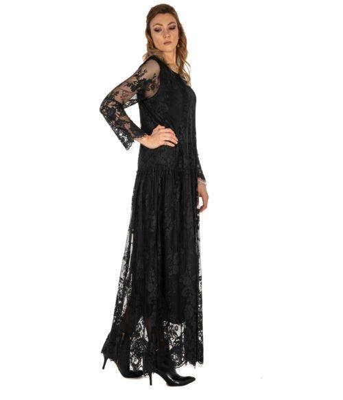 ABITO DONNA DVROMA NERO LUNGO PIZZO DRESS WOMAN MADE IN ITALY BLACK