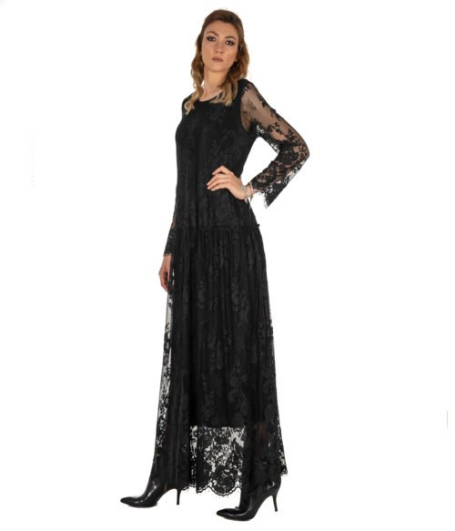 ABITO DONNA DVROMA NERO LUNGO PIZZO LONG DRESS WOMAN MADE IN ITALY