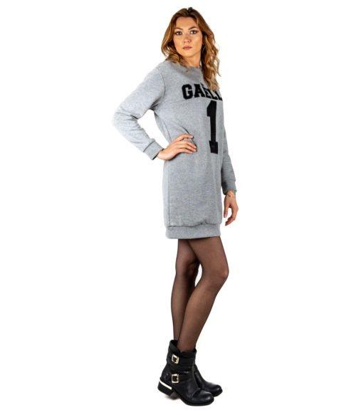 ABITO DONNA GAELLE PARIS GRIGIO FELPA GIROCOLLO GBD2721 MADE IN ITALY DRESS GREY WOMAN