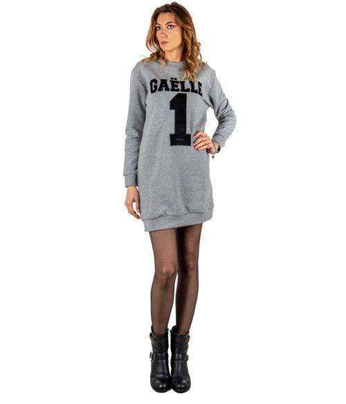 ABITO DONNA GAELLE PARIS GRIGIO FELPA GIROCOLLO GBD2721 MADE IN ITALY DRESS WOMAN GAELLE GREY