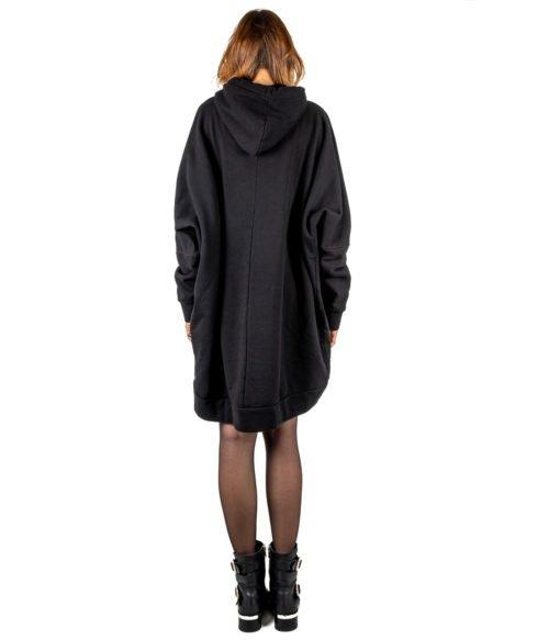ABITO DONNA GAELLE PARIS NERO FELPA CAPPUCCIO GBD2773 MADE IN ITALY DRESS WOMAN GAELLE
