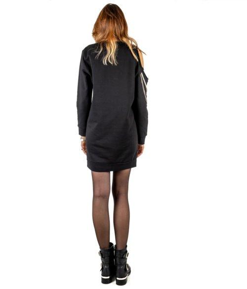 ABITO DONNA GAELLE PARIS NERO FELPA GIROCOLLO GBD2844 MADE IN ITALY DRESS GAELLE BLACK