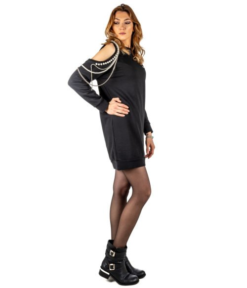 ABITO DONNA GAELLE PARIS NERO FELPA GIROCOLLO GBD2844 MADE IN ITALY DRESS WOMAN GAELLE