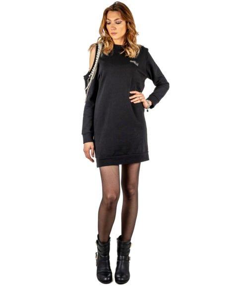 ABITO DONNA GAELLE PARIS NERO FELPA GIROCOLLO GBD2844 MADE IN ITALY DRESS WOMAN GAELLE BLACK