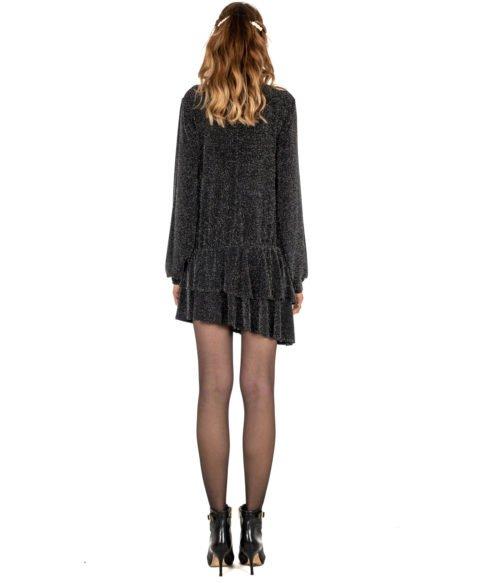 ABITO DONNA GAELLE PARIS NERO LUREX APPLICAZIONI GBD3102 MADE IN ITALY SHORT DRESS BLACK