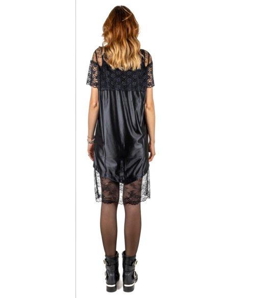 ABITO DONNA GAELLE PARIS NERO PIZZO GIROCOLLO GBD3051 MADE IN ITALY DRESS WOMAN BLACK