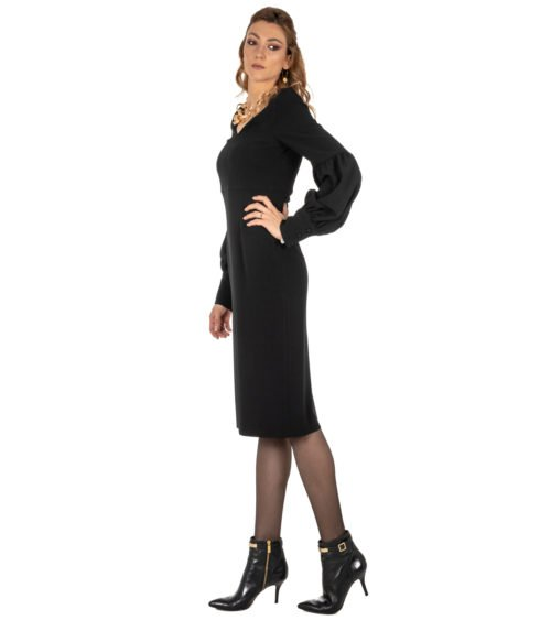 ABITO DONNA GOLD CASE NERO CRÊPE ABITO ELLEN EE997 MADE IN ITALY DRESS WOMAN BLACK GOLD CASE