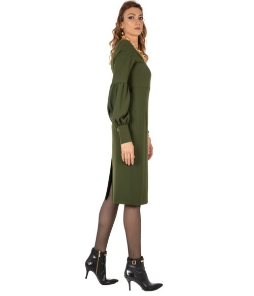 ABITO DONNA GOLD CASE VERDE CRÊPE ABITO ELLEN EE997 MADE IN ITALY DRESS WOMAN GOLD CASE