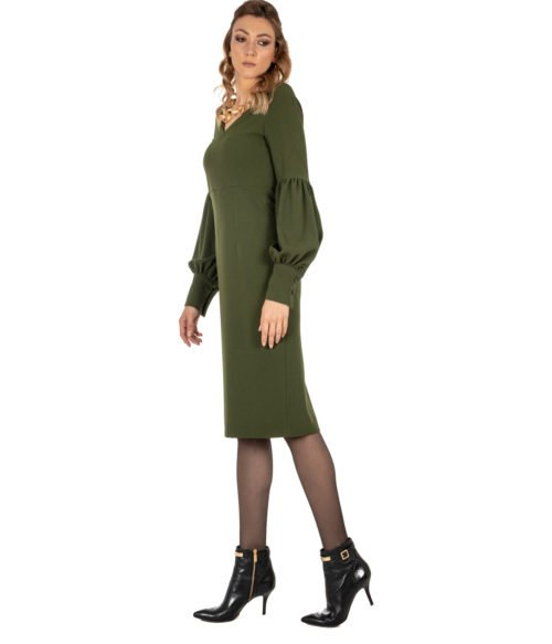 ABITO DONNA GOLD CASE VERDE CRÊPE ABITO ELLEN EE997 MADE IN ITALY DRESS WOMAN GOLD CASE GREEN