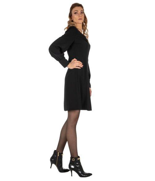 ABITO DONNA MERCÌ NERO CRÊPE ABITO MA189 19950 MADE IN ITALY LONG DRESS WOMAN