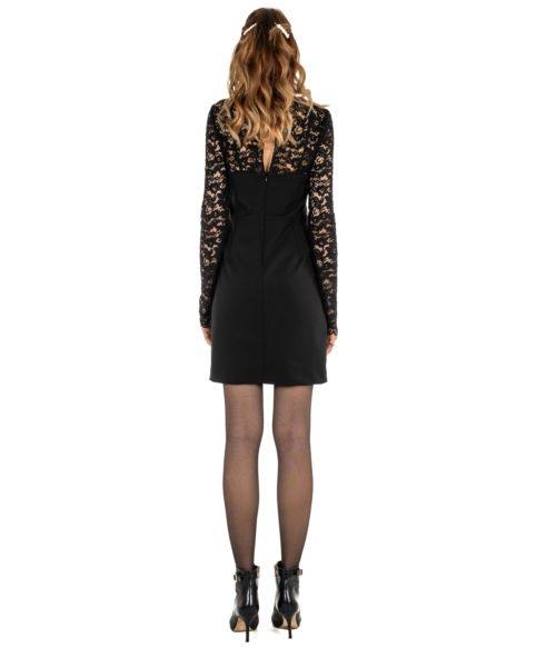 ABITO DONNA MERCI NERO PIZZO DRESS WOMAN MADE IN ITALY BLACK