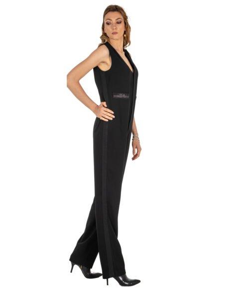 ABITO DONNA PINKO NERO CRÊPE FABIANO TUTA POLY CREPE Z99 BLACK LONG DRESS WOMAN PINKO