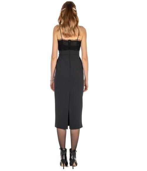 ABITO DONNA PINKO NERO CRÊPE STRETCH PIZZO GERMANO ABITO Z99 BLACK LONG DRESS BLACK