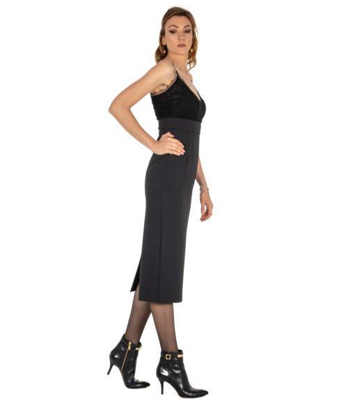 ABITO DONNA PINKO NERO CRÊPE STRETCH PIZZO GERMANO ABITO Z99 BLACK LONG DRESS WOMAN