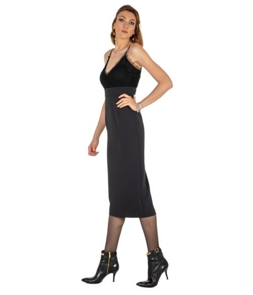 ABITO DONNA PINKO NERO CRÊPE STRETCH PIZZO GERMANO ABITO Z99 BLACK LONG DRESS WOMAN BLACK