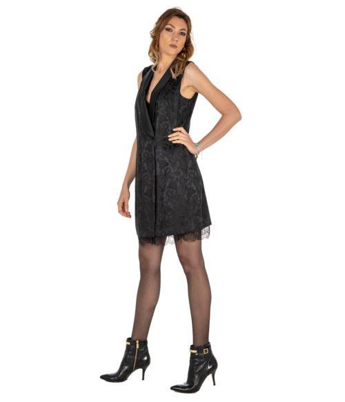 ABITO DONNA PINKO NERO JACQUARD STAMPATO FABRIZIO ABITO Z99 BLACK SHORT DRESS