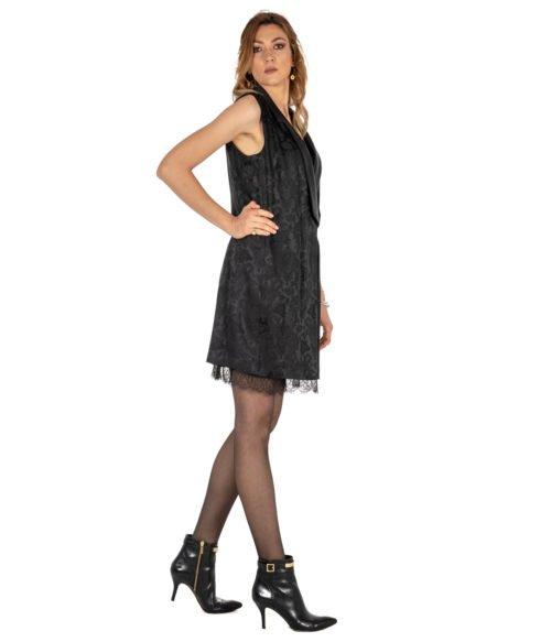 ABITO DONNA PINKO NERO JACQUARD STAMPATO FABRIZIO ABITO Z99 BLACK SHORT DRESS WOMAN JACQUARD
