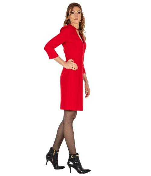 ABITO DONNA PINKO ROSSO LANA SCOLLO A V GIORGIO 1 ABITO R43 RED DRESS