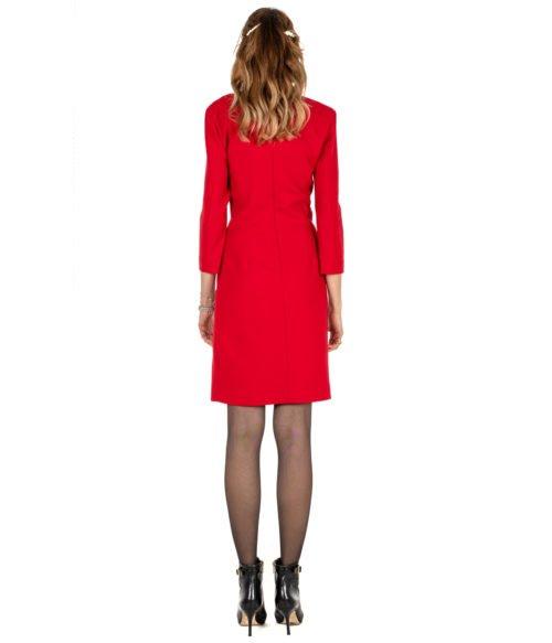 ABITO DONNA PINKO ROSSO LANA SCOLLO A V GIORGIO 1 ABITO R43 RED DRESS WOMAN