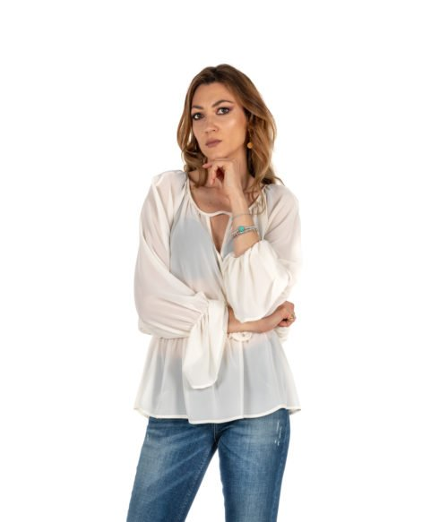 BLUSA DONNA KAOS BIANCA CAMICIA KIJTZ016 MADE IN ITALY SHIRT WOMAN