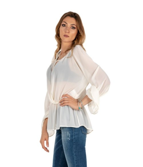 BLUSA DONNA KAOS BIANCA CAMICIA KIJTZ016 MADE IN ITALY SHIRT WOMAN WHITE