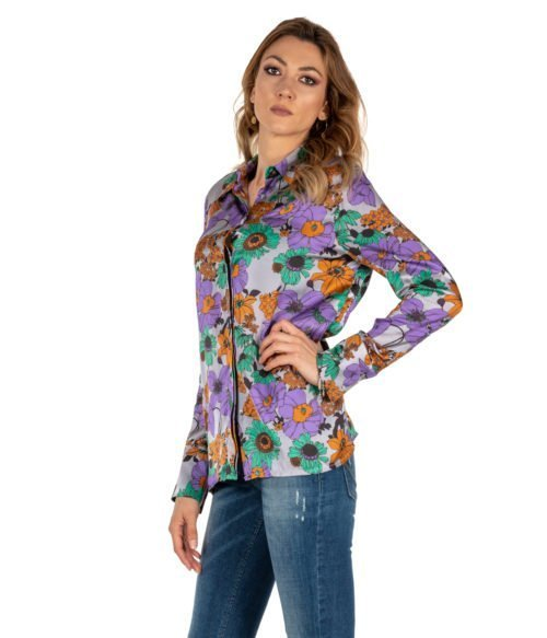 CAMICIA DONNA JUCCA GRIGIA FANTASIA FLOREALE MADE IN ITALY WOMAN SHIRT