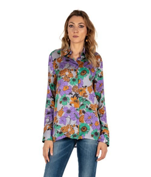 CAMICIA DONNA JUCCA GRIGIA FANTASIA FLOREALE MADE IN ITALY WOMAN SHIRT FLOWER
