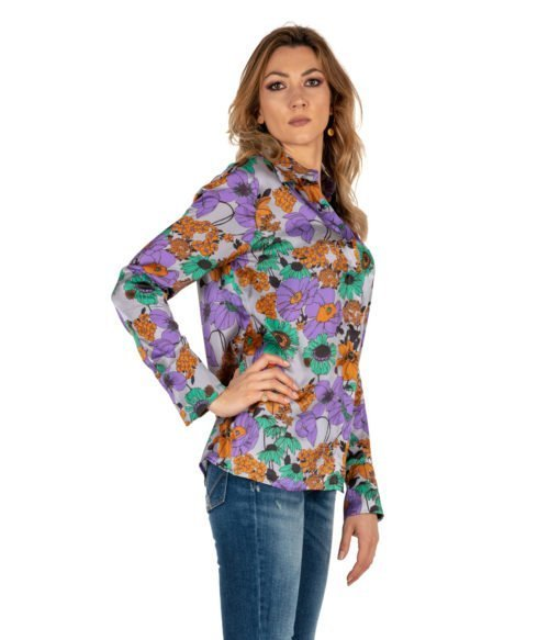 CAMICIA DONNA JUCCA GRIGIA FANTASIA FLOREALE MADE IN ITALY WOMAN SHIRT FLOWER GREY