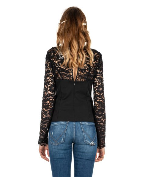 CAMICIA DONNA MERCI NERA BLUSA PIZZO MADE IN ITALY SHIRT