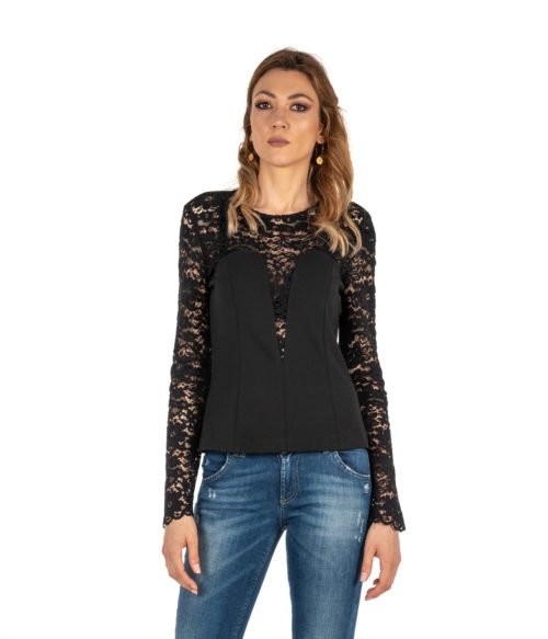 CAMICIA DONNA MERCI NERA BLUSA PIZZO MADE IN ITALY SHIRT WOMAN BLACK
