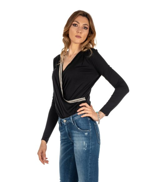 CAMICIA DONNA PATRIZIA PENE NERA MAGLIA BODY IN JERSEY WOMAN BLACK