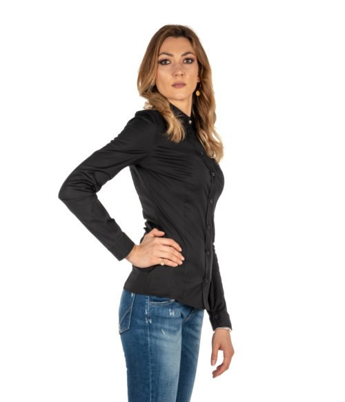 CAMICIA DONNA PATRIZIA PEPE NERA COTONE BLOUSE STRETCH BC0113A01 K103 SHIRT WOMAN STRETCH