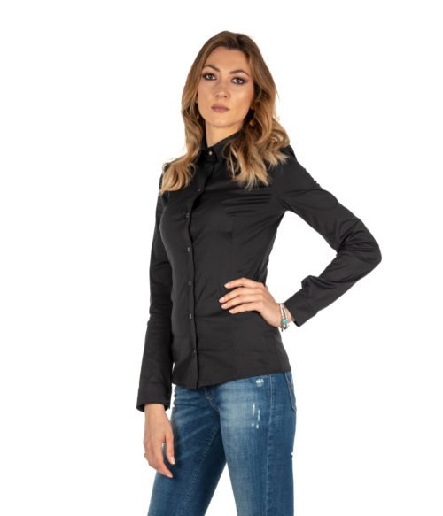 CAMICIA DONNA PATRIZIA PEPE NERA COTONE BLOUSE STRETCH BC0113A01 K103 SHIRT WOMAN STRETCH BLACK