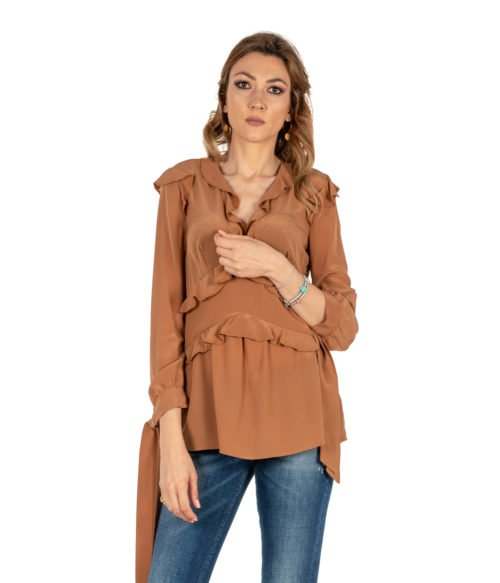 CAMICIA DONNA PINKO MARRONE PURA SETA BLUSA BROWN MADE IN ITALY