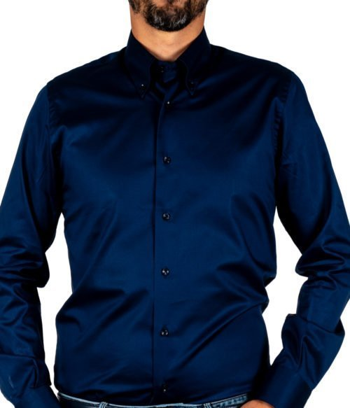 CAMICIA UOMO MARCUS BY DELSIENA BLU SOFT COTTON BUTTON DOWN MADE IN ITALY