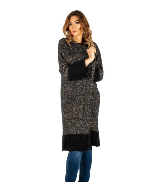 CARDIGAN DONNA KAOS NERO FANTASIA MELANGE LANA MOHAIR MADE IN ITALY LONG JACKET WOMAN BLACK