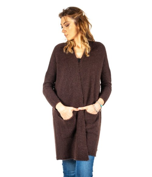CARDIGAN DONNA OTTOD'AME MARRONE MORO LANA MOHAIR MADE IN ITALY