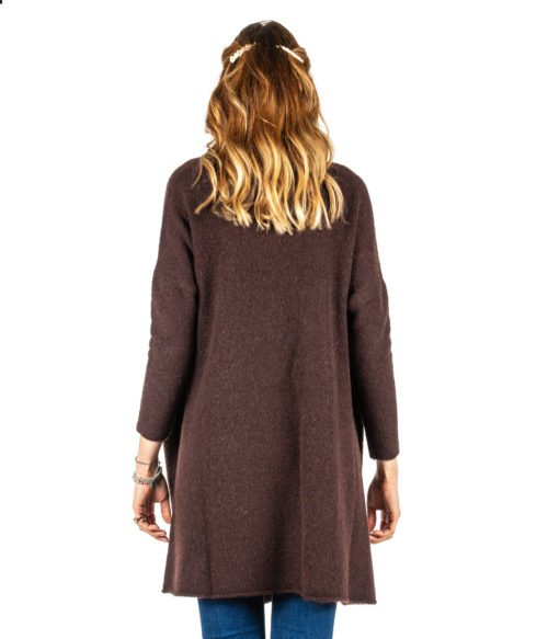 CARDIGAN DONNA OTTOD'AME MARRONE MORO LANA MOHAIR MADE IN ITALY JACKET WOMAN BROWN