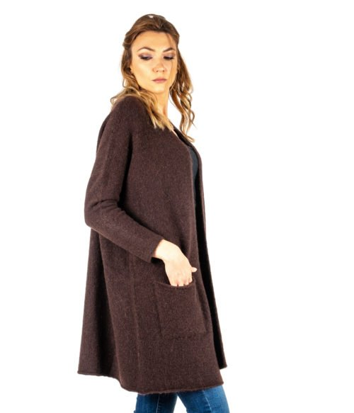 CARDIGAN DONNA OTTOD'AME MARRONE MORO LANA MOHAIR MADE IN ITALY LONG JACKET WOMAN