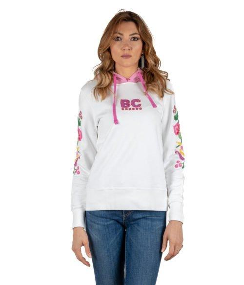 FELPA DONNA BEST COMPANY BIANCA COTONE CON FANTASIA FLOREALE 592511 WOMAN