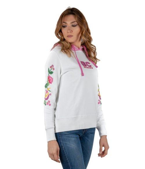 FELPA DONNA BEST COMPANY BIANCA COTONE CON FANTASIA FLOREALE 592511 WOMAN SWEATSHIRT