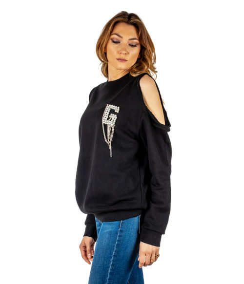 FELPA DONNA GAELLE PARIS NERA MAGLIA GIROCOLLO GBD3115 MADE IN ITALY SWEATSHIRT GAELLE BLACK