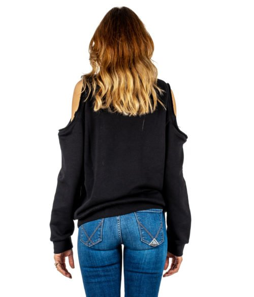 FELPA DONNA GAELLE PARIS NERA MAGLIA GIROCOLLO GBD3115 MADE IN ITALY SWEATSHIRT WOMAN GAELLE