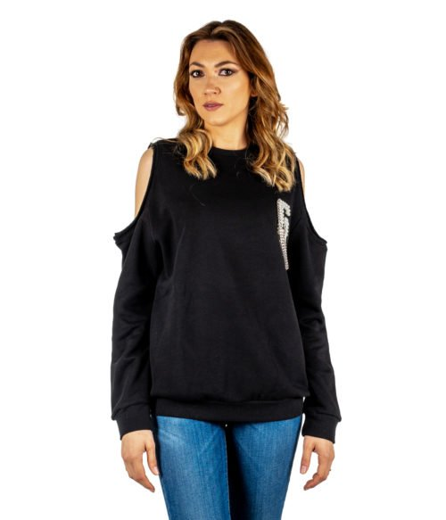 FELPA DONNA GAELLE PARIS NERA MAGLIA GIROCOLLO GBD3115 MADE IN ITALY SWEATSHIRT WOMAN GAELLE BLACK
