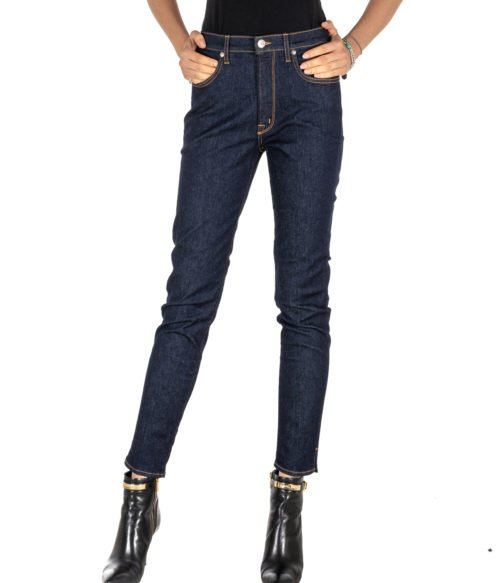 JEANS DONNA (+) PEOPLE BLU DENIM SKINNY FIT STRETCH MADE IN ITALY