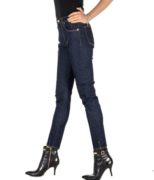 JEANS DONNA (+) PEOPLE BLU DENIM SKINNY FIT STRETCH MADE IN ITALY DENIM WOMAN WENDY