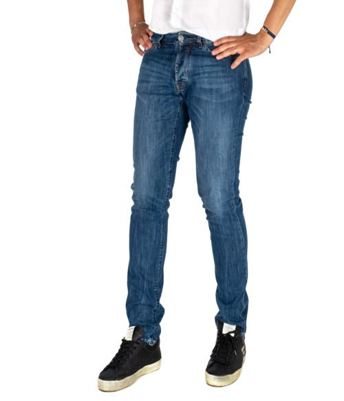 JEANS UOMO MICHAEL COAL BLU COTONE SKINNY FIT MADE IN ITALY 1000W2 L